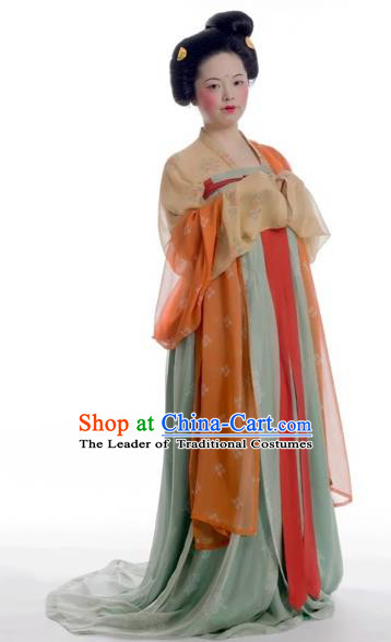 Chinese Tang Dynasty Maidenform Hanfu Dress Ancient Palace Lady Embroidered Costumes for Women
