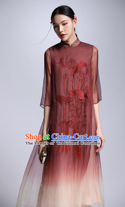 Chinese Traditional Tang Suit Embroidered Lotus Red Cheongsam China National Qipao Dress for Women
