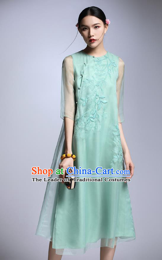 Chinese Traditional Tang Suit Embroidered Green Cheongsam China National Qipao Dress for Women
