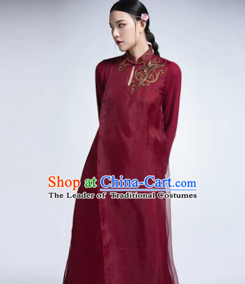 Chinese Traditional Tang Suit Embroidered Wine Red Cheongsam China National Qipao Dress for Women