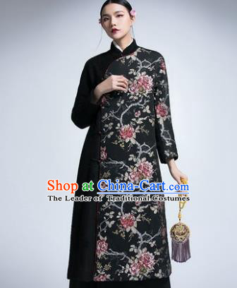 Chinese Traditional Tang Suit Woolen Cheongsam China National Coat Qipao Dress for Women