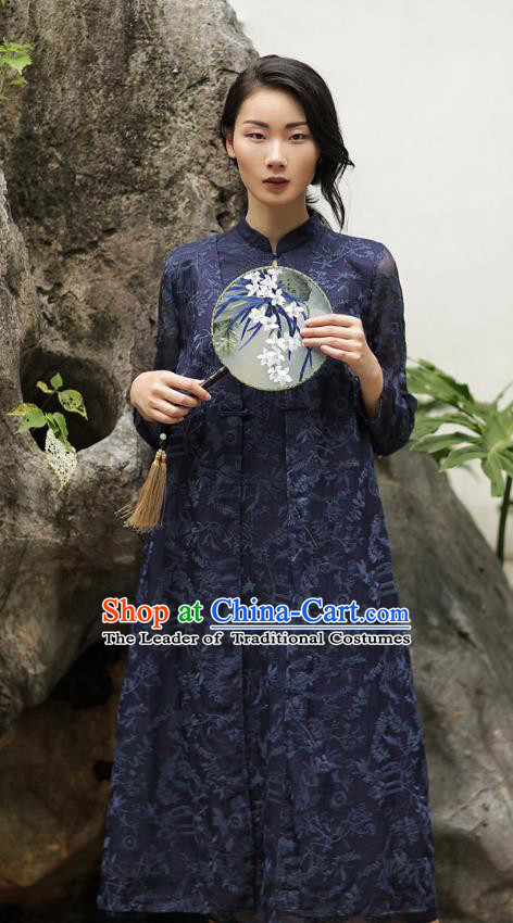Chinese Traditional Tang Suit Embroidered Navy Cheongsam China National Qipao Dress for Women