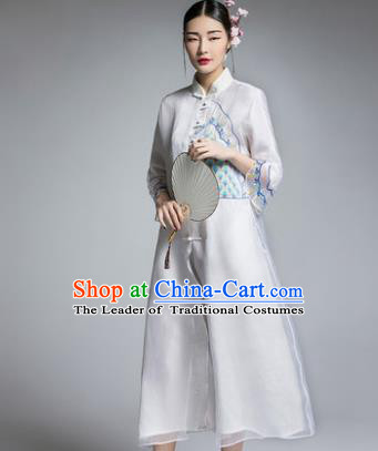 Chinese Traditional Tang Suit White Cheongsam China National Plated Buttons Qipao Dress for Women