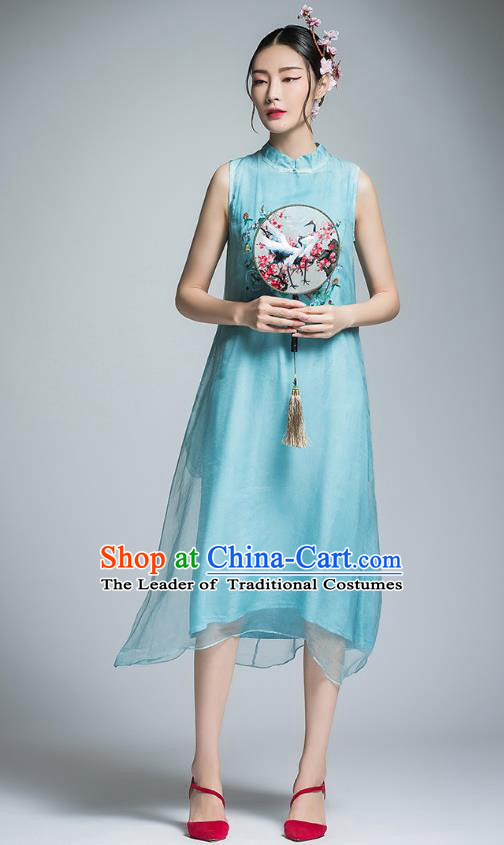 Chinese Traditional Tang Suit Embroidered Peony Cheongsam China National Blue Qipao Dress for Women
