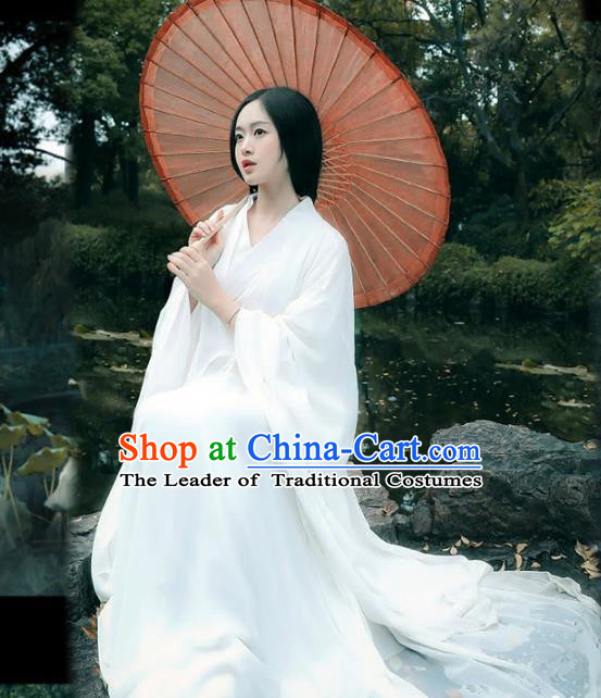 Chinese Jin Dynasty Princess White Hanfu Dress Ancient Swordswoman Costume for Women