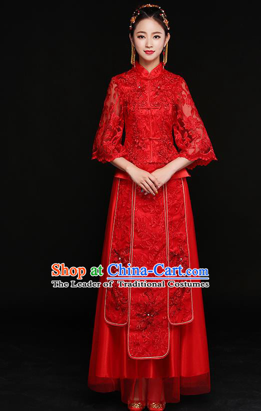 Traditional Chinese Embroidered Lace Xiuhe Suit Ancient Wedding Red Dress Toast Cheongsam for Women
