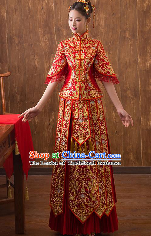 Traditional Chinese Ancient Embroidered Bottom Drawer Xiuhe Suit Wedding Dress Toast Red Cheongsam for Women