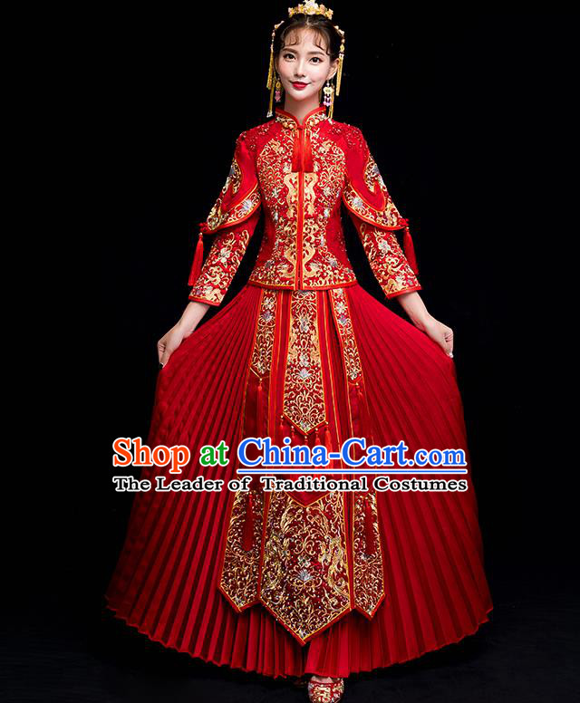 Chinese Traditional Wedding Toast Costumes China Ancient Bride Xiuhe Suit Embroidered Clothing for Women