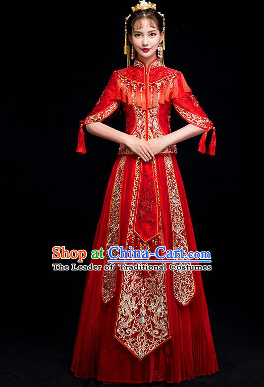 Chinese Traditional Wedding Embroidered Toast Costumes China Ancient Bride Xiuhe Suit Clothing for Women