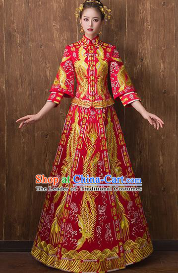 Traditional Chinese Ancient Toast Cheongsam Embroidered Phoenix Bottom Drawer Xiuhe Suit Wedding Dress for Women