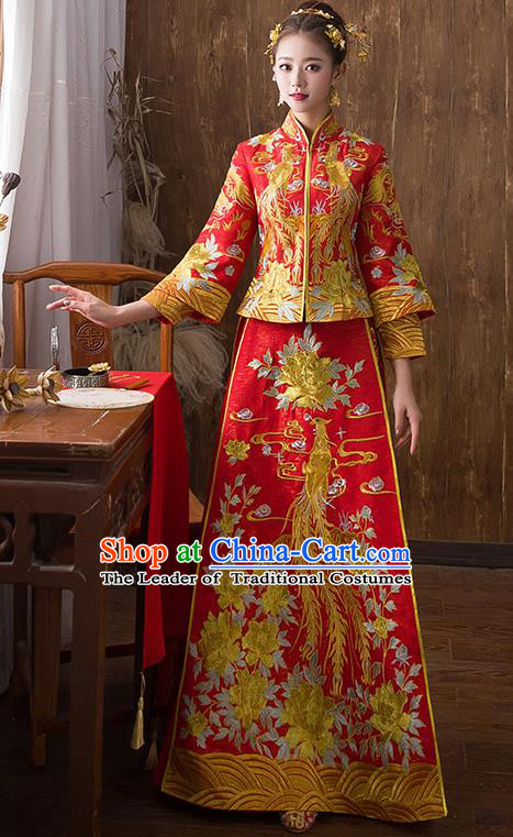 Traditional Chinese Ancient Red Toast Cheongsam Embroidered Peony Bottom Drawer Xiuhe Suit Wedding Dress for Women