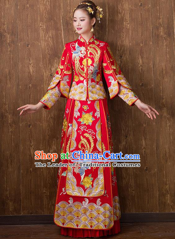 Traditional Chinese Ancient Embroidered Toast Cheongsam Red Bottom Drawer Xiuhe Suit Wedding Dress for Women