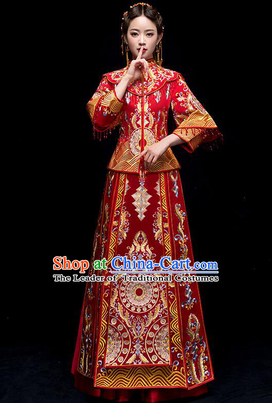Chinese Traditional Wedding Red Embroidered Costume Ancient Bride Xiuhe Suit Clothing for Women