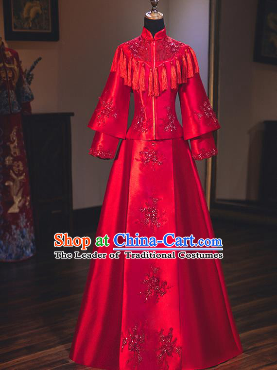 Chinese Traditional Wedding Embroidered Dress Red Bottom Drawer Ancient Bride Xiuhe Suit Costume for Women