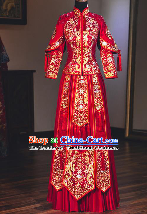 Chinese Traditional Wedding Embroidered Dress Diamante Bottom Drawer Ancient Bride Xiuhe Suit Costume for Women