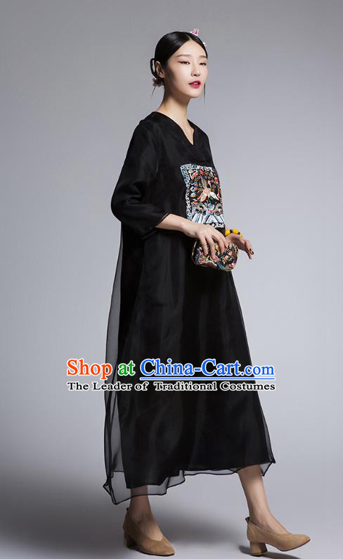Chinese Traditional Tang Suit Embroidered Crane Black Cheongsam China National Qipao Dress for Women