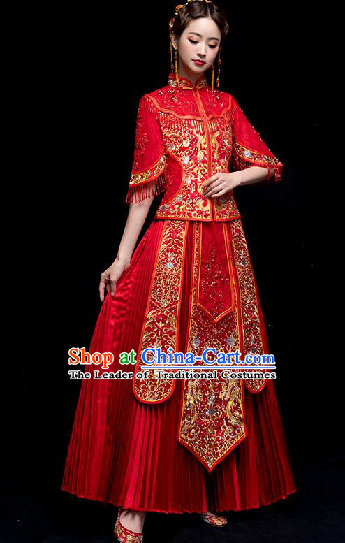 Chinese Traditional Embroidered Wedding Dress Ancient Bride Xiuhe Suit for Women