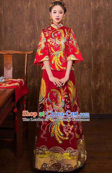 Chinese Traditional Embroidered Phoenix Bridal Red Xiuhe Suit Wedding Dress Ancient Bride Cheongsam for Women