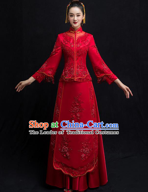 Chinese Traditional Bridal Embroidered Toast Xiuhe Suit Diamante Wedding Dress Ancient Bride Red Cheongsam for Women