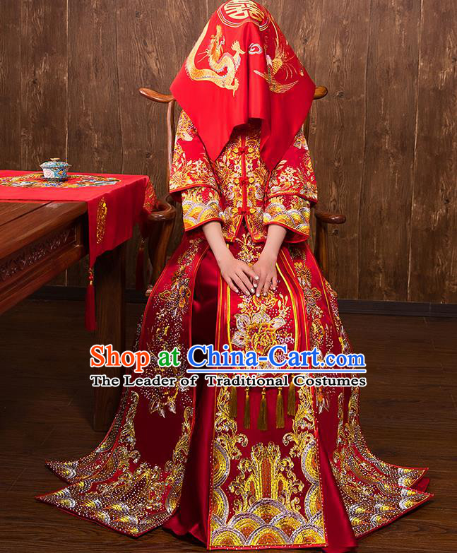 Chinese Traditional Bridal Embroidered Peony Xiuhe Suit Wedding Dress Ancient Bride Red Cheongsam for Women