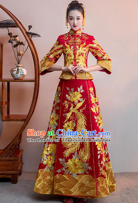Chinese Traditional Bridal Red Xiuhe Suit Embroidered Phoenix Wedding Dress Ancient Bride Cheongsam for Women