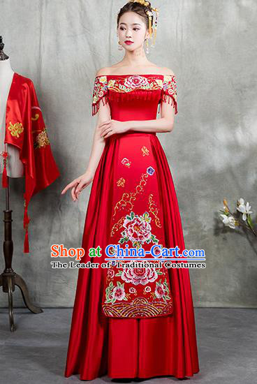 Chinese Traditional Embroidered Dress Bridal Wedding Xiuhe Suit Ancient Toast Cheongsam for Women