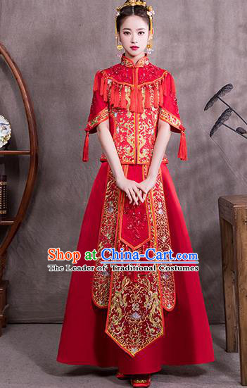 Chinese Traditional Embroidered Bridal Wedding Xiuhe Suit Ancient Toast Cheongsam Dress for Women