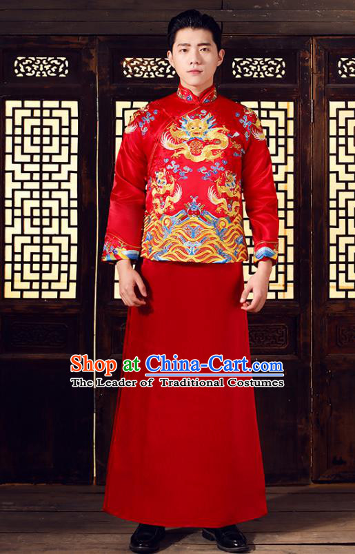 Chinese Traditional Bridegroom Embroidered Costume Ancient Tang Suit Clothing for Men
