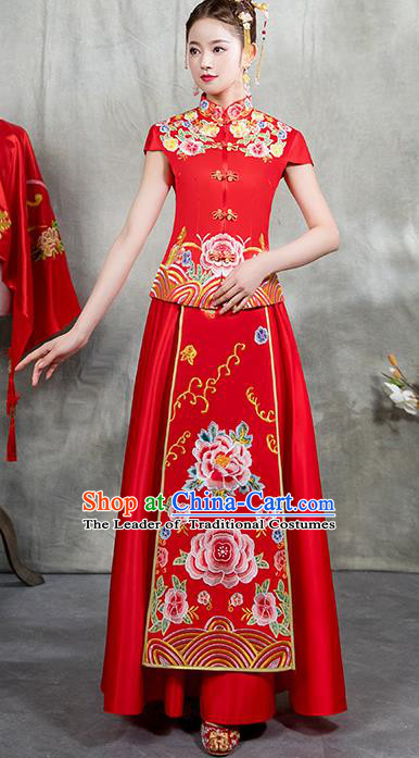 Chinese Traditional Embroidered Peony Bridal Red Xiuhe Suit Ancient Wedding Toast Cheongsam Dress for Women