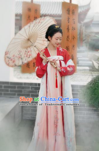 Chinese Ancient Imperial Concubine Dress Tang Dynasty Princess Embroidered Hanfu Clothing for Women