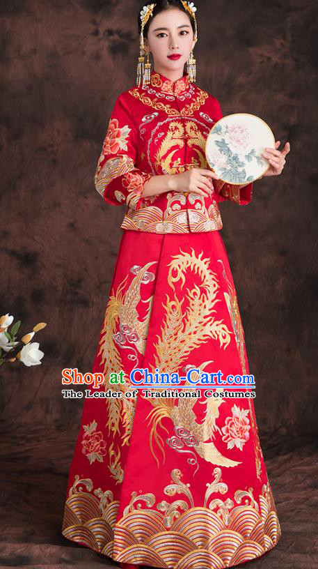 Chinese Traditional Embroidered Phoenix Xiuhe Suit Longfeng Flown Ancient Bottom Drawer Wedding Dress for Women