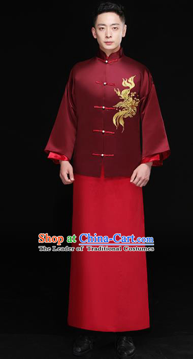 Chinese Traditional Bridegroom Embroidered Costume Ancient Tang Suit Wine Red Clothing for Men