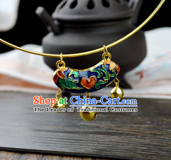 Chinese Traditional Ancient Longevity Lock Accessories Hanfu Blueing Necklace for Women