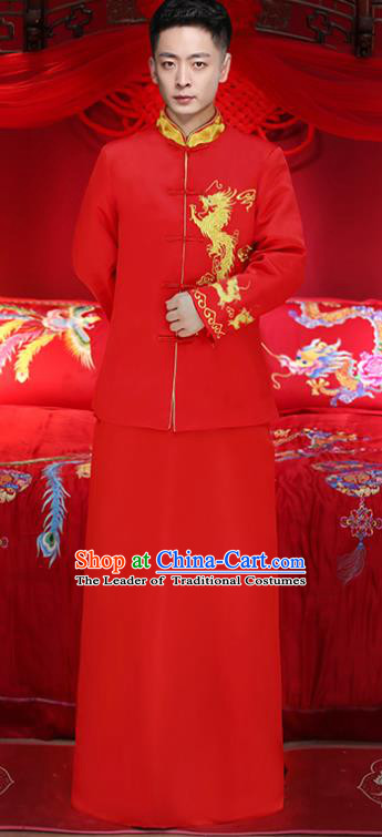Chinese Traditional Bridegroom Embroidered Golden Dragons Costume Ancient Tang Suit Red Clothing for Men