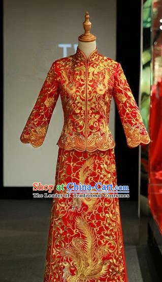 Chinese Traditional Wedding Xiuhe Suit Ancient Longfeng Flown Bride Embroidered Cheongsam Dress for Women