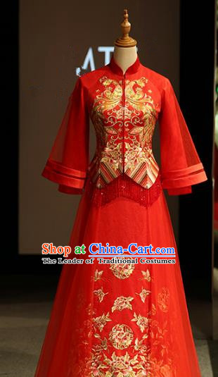 Chinese Traditional Bride Xiuhe Suit Ancient Longfeng Flown Embroidered Wedding Cheongsam Veil Dress for Women