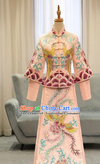 Chinese Traditional Bride Pink Xiuhe Suit Ancient Longfeng Flown Embroidered Phoenix Wedding Cheongsam Dress for Women