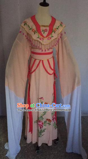 Chinese Traditional Beijing Opera Nobility Lady Apricot Dress Peking Opera Diva Costumes for Adults