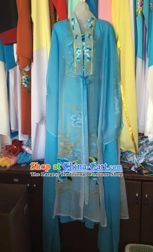 Chinese Traditional Peking Opera Nobility Lady Blue Dress Beijing Opera Diva Costumes for Adults