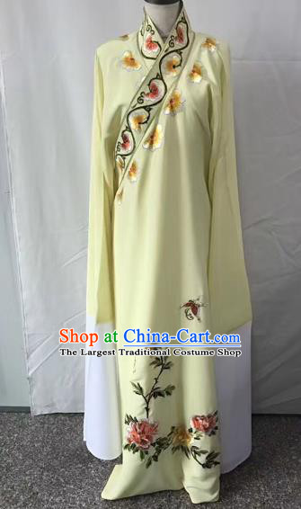 Chinese Traditional Beijing Opera Niche Embroidered Peony Yellow Robe Peking Opera Young Men Costume for Adults