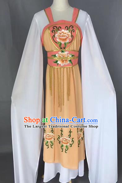 Traditional Chinese Peking Opera Maidservants Costume Beijing Opera Fairy Yellow Dress for Adults