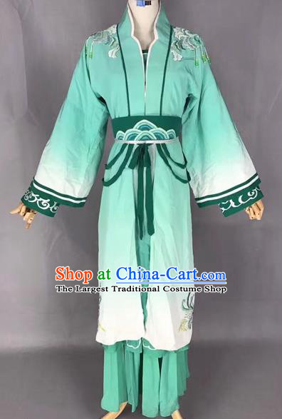 Traditional Chinese Peking Opera Mui Tsai Green Costume Beijing Opera Fairy Dress for Adults