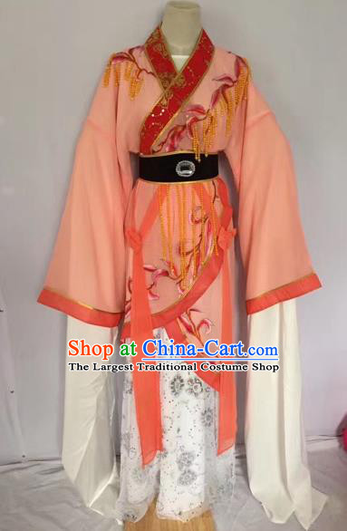 Chinese Ancient Peking Opera Princess Embroidered Orange Dress Traditional Beijing Opera Diva Costumes for Adults