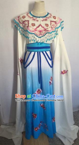 Chinese Ancient Peking Opera Young Lady Blue Dress Traditional Beijing Opera Diva Costumes for Adults