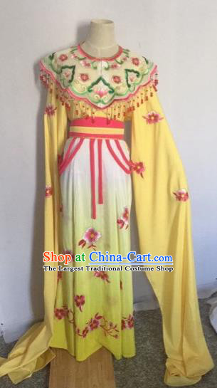 Chinese Ancient Peking Opera Young Lady Yellow Dress Traditional Beijing Opera Diva Costumes for Adults