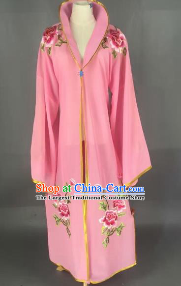 Traditional Chinese Peking Opera Diva Costume Beijing Opera Embroidered Pink Cloak for Adults