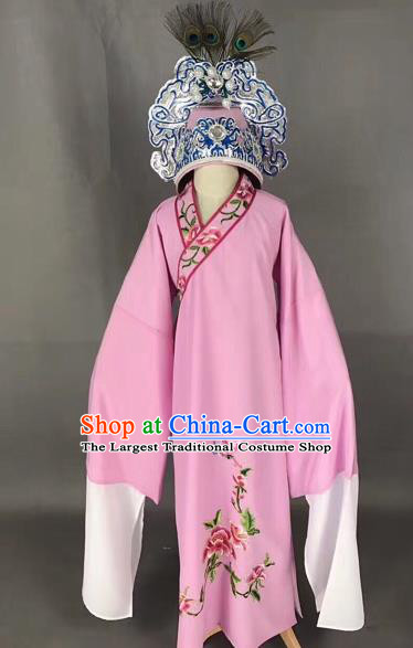 Chinese Traditional Beijing Opera Children Pink Robe Peking Opera Niche Costume and Hat for Kids
