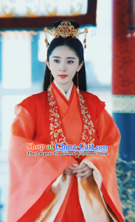 Legend Of Fu Yao Chinese Ancient Queen Costumes Traditional Empress Wedding Hanfu Dress and Headpiece Complete Set