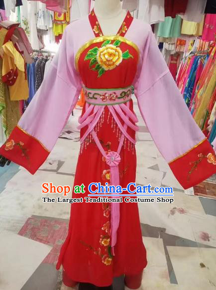 Chinese Shaoxing Opera Embroidered Red Dress Traditional Beijing Opera Diva Costume for Adults