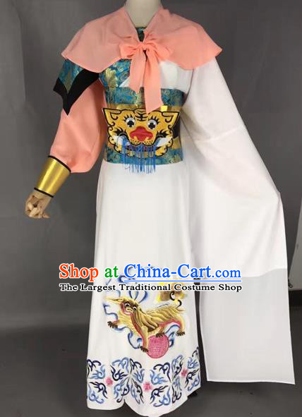Chinese Beijing Opera General White Clothing Traditional Peking Opera Prince Costume for Adults